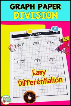 Long Division On Graph Paper 2 Digits by 1 Digit Date, Elementary Math, Upper Elementary, Kindergarten Math, Math Class, Math Intervention, Intervention Specialist, Teaching Long Division, Special Education Classroom