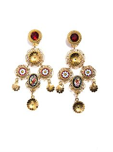 Dolce & Gabbana Sicilian Cameo Filigree Earrings in Gold Filigree Earrings, Wing Earrings, Clip On Earrings, Fancy Earrings, Earring Trends, Jewelry Trends, Girls Jewelry, Jewelry Accessories, Dolce And Gabbana Earrings