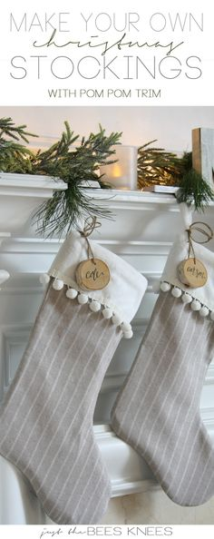 DIY Pom Pom Trim Stocking Tutorial. A quick and easy christmas craft idea! LOVE the fur cuff and wood tags too. More