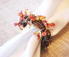 Fall Napkin Rings, Autumn Leaf Napkin Rings, Thanksgiving Napkin Rings, Rustic…