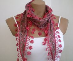Summer Scarf Dusty Rose Scarf Cotton Scarf Womens by fizzaccessory, $14.00