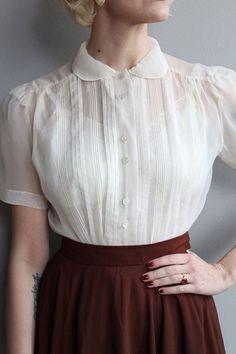 1950s Blouse // Ivory Nylon Blouse // vintage 50s blouse - Street Fashion