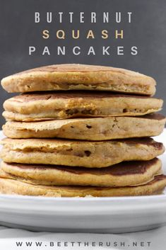 I came up with this easy recipe for fluffy and thick pancakes, that are not too sweet and have that cozy fall feeling. I love them with some honey drizzled on top! They're also delicious sprinkled with a mix of powdered sugar and cinnamon, although, if I'm having them for breakfast, I'll just eat them plain. #pancakes #butternutsquash #foodblogger Fluffy Pancakes, Honey And Cinnamon, Roasted Butternut Squash, Powdered Sugar, Beets, Easy Meals, Cozy, Dishes, Cooking