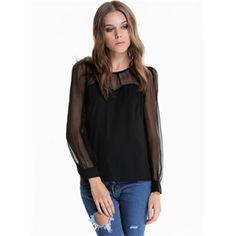 Black Contrast Mesh Yoke Long Sleeve Blouse | pariscoming $17