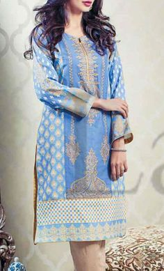 Buy Blue Embroidered Linen Kurti by Lala Prints 2015 Call: (702) 751-3523 Email: Info@PakRobe.com www.pakrobe.com #DESIGNER_KURTI https://www.pakrobe.com/Women/Clothing/Buy-Designer-Kurti-Online