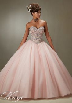 Quinceanera Dress Vizcaya Morilee 89076 Sugar coated stones on a tulle ball gown Colors: Aqua, blush, champagne and mint