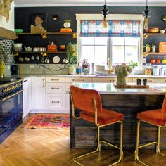 Kate Pearce's Guide to Designing with Vintage Finds, Modern Furniture, and SmithHönig Fabric - SmithHönig Eclectic Kitchen, Kitchen Interior, Kitchen Design, Kitchen Decor, Eclectic Modern, Modern Lofts, Eclectic Design, Furniture Styles, Modern Furniture