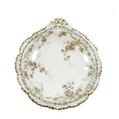 Antique Jean Pouyat Limoges Dish with Roses and Gold Trim ($80) ❤ liked on Polyvore featuring home, home decor, rose home decor, country rose dishes, paris france home decor, pink home decor and blue dish
