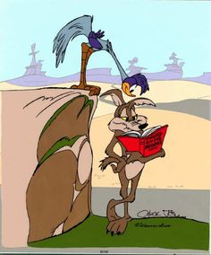Lies and deception. Here we see the road runner reading about what Wile E. Coyote is planning to do and will use that later to deceive and ruin his plans. Old School Cartoons, Old Cartoons, Animated Cartoons, Disney Cartoons, Funny Cartoons, Looney Tunes Characters, Classic Cartoon Characters, Looney Tunes Cartoons, Classic Cartoons
