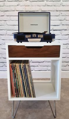 Modern Nightstand, Record Player Stand, Bedside Table, White End ...