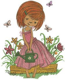 Girl with watering can machine embroidery design. Machine embroidery design. www.embroideres.com