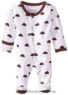 Baby Girl Clothes L'ovedbaby Unisex-Baby Organic Cotton Footed Overall, Eggplant Umbrella, 9-12 Months
