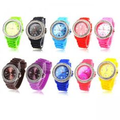 Chic Wrist Watch (Bracelet Rubber) with points & numerals hours with rhinestone decoration