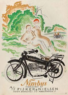 Nimbus Motorcycle by Valdemar Andersen Vintage Advertising Posters, Vintage Travel Posters, Vintage Advertisements, Vintage Ads, Vintage Tools, Old Posters, Art Deco Posters, Vintage Bikes, Vintage Motorcycles
