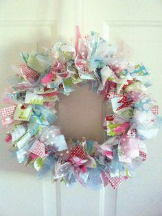 Pastel Christmas Rag Ribbon Wreath by RagWreathsbyMissVal on Etsy, $45.00