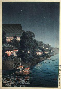 Ryuhashi at Night, woodblock [variant], by Tsuchiya Koitsu, (1934)1950's -- See more at: http://www.koitsu.com/Ryuhashi%20at%20Night.htm