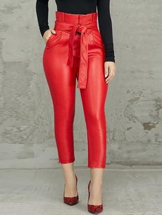 Style:Fashion Pattern Type:Solid Material:PU Decoration:Paperbag ,High Waist, Belted ,PU Length:Regular Occasion:Casual Package Belt) Note: There might be difference accordi. Look Fashion, Fashion Outfits, Womens Fashion, Fashion Trends, Feminine Fashion, Fashion Clothes, Estilo Fashion, Fashion 2018, Cheap Fashion