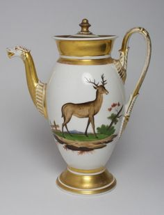 Large Antique Paris Porcelain Coffee POT Deer Stag AND DOE French | eBay