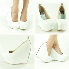 "NEW WHITE SILVER ALMOND CLOSED TOE 6"" HIGH HEEL PLATFORM WEDGE WOMEN PUMP SANDAL"