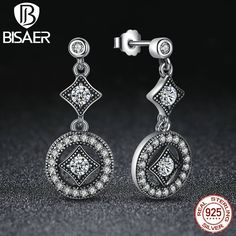 Real 925-Sterling-Silver Drop Earrings AAA Zircon Round Long Earrings for Women Compatible with European Fashion Brand Jewelry
