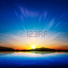abstract nature sunrise background with forest and lake Stock Vector