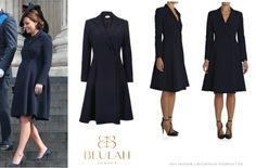 """Kate was wearing her Beulah London Navy Chiara Trapeze Coat (£395), • Beulah London """"Chiara"""" Wool Coat ($965) the same she wore for Afghanistan Service of Commemoration."""