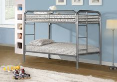 Bunk Bed Twin / Twin - Silver Metal . . . #furniture #homedecor #interiordesign #design #decor #home #living #office #family #entertainment #luxury #affordable #sale #discount #freeshipping #canada #toronto #usa #america #fashion #design #bedroom #comfort #happy #style #rest #relax #bunkbed #child #children #kids #brothers #sisters #babies