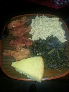 #Soul food#cooked by me♡♥ (fried chicken, glory greens, spiral macaroni and cheese and to top it off corn bread