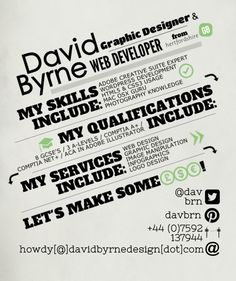 """He designs infographic resumes like this one - check out portfolio of creative resumes by clicking the pic. I'm seeing this as a """"postcard"""" and a matching business card for those serious about finding the career of their dreams"""