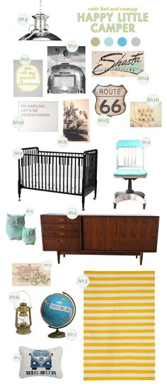 love the vintage inspired accents, travel theme, and black Jenny Lind style crib