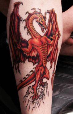 Modern Welsh Dragon Tattoo #1