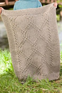 "Wow, look at this beautiful crocheted cable ""Turtle Tracks Blanket""!"