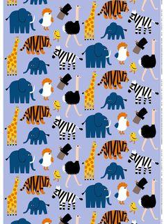 Marimekko Iso Tiikoni Blue Fabric What do you call a cross between a tiger and a lion? A Tigon (Iso Tiikoni in Finnish), the name of this new Marimekko pattern designed by Aino-Maija Metsola. Blue Fabric, Cotton Fabric, Marimekko Fabric, Kids Prints, Zebras, Orange Yellow, Printing On Fabric, Pattern Design, Fle