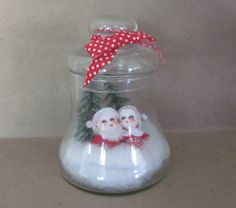 Vintage Christmas Decoration, 1970's Glass Bell Diorama, Santa, Mrs. Claus, Christmas Kitsch, 1970's Christmas Decor, Mid Century by ThirstyOwlVintage on Etsy https://www.etsy.com/listing/252968628/vintage-christmas-decoration-1970s-glass