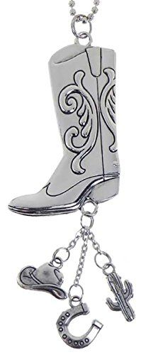 Cool  Custom 7 Chain Hang Single Unit of Rear View Mirror Hanging Ornament Decoration Made of Zinc Alloy w Fancy Design Engraved Cowboy Boots w Western Charms Design Mustang Silver Colored ** Read more reviews of the product by visiting the link on the image.Note:It is affiliate link to Amazon.