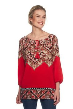 Medallion Printed Top Latest Fashion For Women, Womens Fashion, Printed, Blouse, Long Sleeve, Sleeves, Shopping, Tops, Style