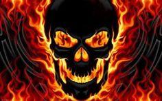flaming skulls   Flaming Skull Flag $19.99