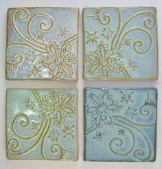 Flower Swirl Tile in Light Blue Gloss Glaze by Karyn by konkelclay, $18.00