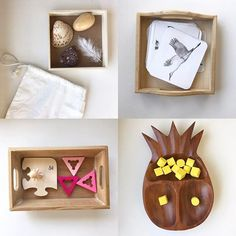 4 simple Montessori activities for 2.5-year-olds. These can easily be put together and used in a Montessori home.