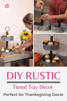 Learn to DIY this perfect kitchen decor addition: a rustic metal 2 tier serving tray. Thanksgiving Table, Thanksgiving Decorations, Galvanized Tiered Tray, Rustic Farmhouse Decor, Tray Decor, Vintage Metal, Table Centerpieces, Kitchen Decor, Make It Yourself