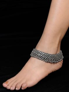 Ethno Ghungroo Drop Silver Anklet (Set of 2) on Jaypore.com