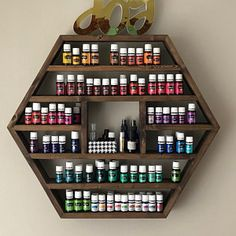 The Blue Ridge – XL Hexagon Essential Oil / Spice / Nail Polish Shelf / Storage - Top-Trends Essential Oil Rack, Essential Oil Storage, Display Shelves, Storage Shelves, Retail Shelving, Wall Shelving, Spice Storage, Shelving Ideas, Wood Shelves