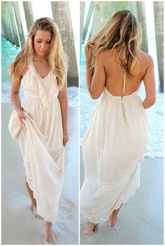Beach Breeze Cream Halter Top Ruffle Maxi Dress
