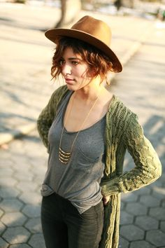gray tee + tiered necklace.