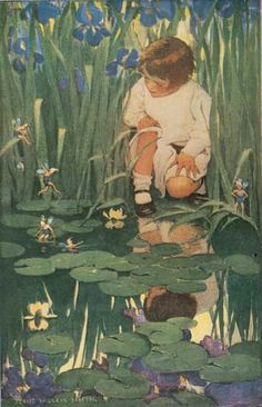 """The Way to Wonderland"" - Jessie Willcox Smith – United States illustrator famous for her work in magazines - Ladies Home Journal and her illustrations for children's books. Art And Illustration, Book Illustrations, Fairy Art, Vintage Children, Jessie, Vintage Art, Illustrators, Fantasy Art, Creatures"