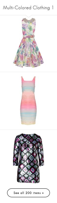 """Multi-Colored Clothing 1"" by franceseattle ❤ liked on Polyvore featuring dresses, vestidos, beaded dress, vintage beaded dress, retro dresses, retro cocktail dresses, floral dresses, striped dress, tank dress and pink chiffon dress"