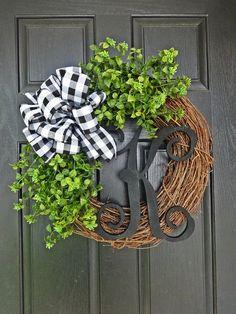 Buffalo Check Boxwood Wreath Every Day Wreath Spring Wreath Summer Wreath All Seasons Christmas Wreath Black Letter Wreath Boxwood Wreath, Diy Wreath, Tulle Wreath, Wreath Ideas, Grapevine Wreath, Front Door Decor, Wreaths For Front Door, Front Porch, Letter Wreath