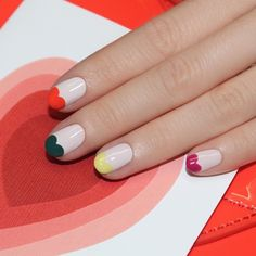 colorful heart tip nails