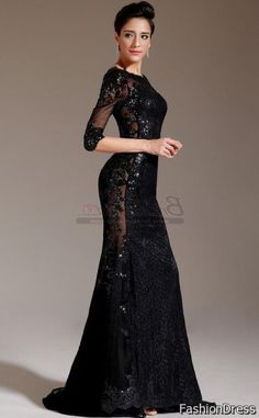 Long Black Lace Bridesmaid Dresses 2017 2018 Dreamydress