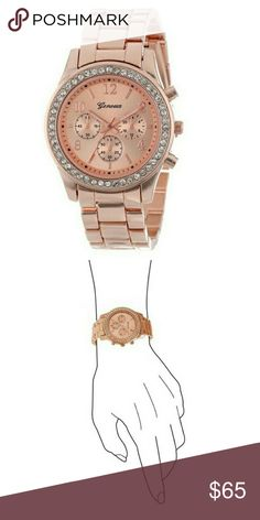 Rose Gold Wristwatch with Crystals NEW! Rose Gold Wristwatch with Crystals is brand new! Comfortable Bracelet Band width Foldover Clasp. Large Round Face Approx 1.5 inches with Crystals. Decorative Non-Functioning Sub-Dials  Faux Chronograph Item Shape: Round Display Type: CRT Case diameter: 40mm Band Material: Metal Band width: 18mm Movement : Quartz  🚫No Trades 🙄😘  💲Bundle & Save!💲😀 🔘Use OFFER button to negotiate👍🤑 ❔Please Ask ?'s BEFORE you Buy🤔😃 💕Thank you for stopping by…